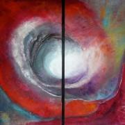 Caldera tweeluik - mixed media acryl op mdf